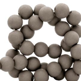 30 x  8 mm acryl kralen matt Frost gray taupe
