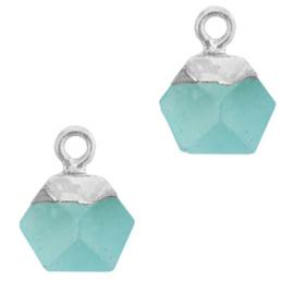 1 x Natuursteen hangers hexagon Turquoise blue-silver Jade