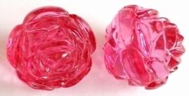 Per stuk Luxe kunststof kraal roos Transparant fuchsia 25 mm Gat: 3 mm