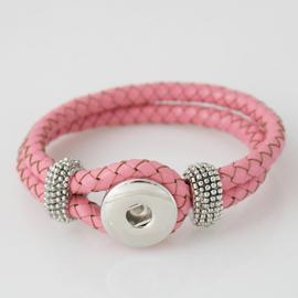 Armband gevlochten leer roze