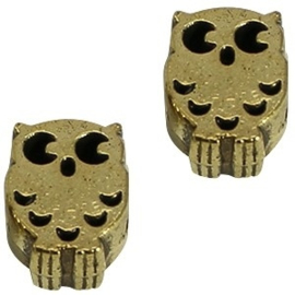 2x Metalen Kraal Uil 13x9 mm Medium Antiek Goud Ø 4-5 mm