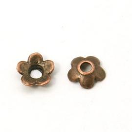 10 stuks tibetaans zilveren kralenkapjes 6,5 x 6,5 x 2 mm gat 2mm rood koper kleur