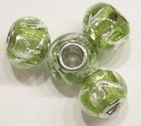 Per stuk Glaskraal European-style Groen zilverfolie 14 mm