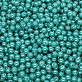 30 stuks glasparels 8mm gat c.a. 1mm kleur zee groen