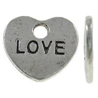 """10 stuks metalen hart labeltjes """"love""""  10 x 9 x 1mm Gat: 1mm ♥"""