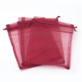50 stuks bordeaux rode organza zakjes 13 x 18cm