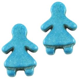 10 x Keramiek Poppetje kraal Lichtblauw 16x23 mm