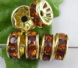 50 stuks vergulde Kristal Rondellen 8 mm topaas