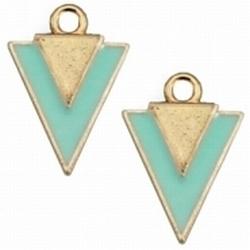 5 x Per stuk Metalen bedel triangle Goud met Turqoise 20 mm