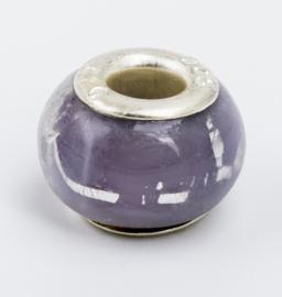 1 x Glaskraal Lila met zilver 10,3 mm x 13,5 mm zilveren kern 925
