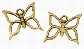 4 x Tibetaans zilveren bedel van een vlinder, erg mooi! 18,5 mm x 18mm goudkleur
