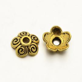10 stuks kralenkapjes 10 x 3,5mm goudkleur
