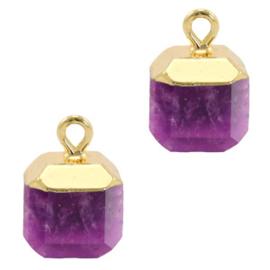 1 x Natuursteen hangers square Purple-gold Berg Kristal