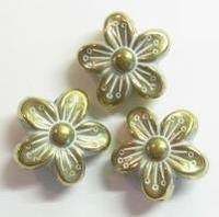 Per stuk goud/zilver metallook kraal bloem 16 mm