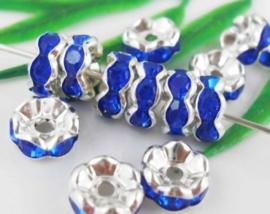 50 stuks Verzilverde Kristal Rondellen 8 mm blauw