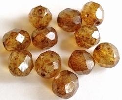 10 stuks Glaskraal facet kristal beige gemeleerd met glans 8 mm