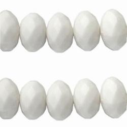 20 stuks Witte acryl facet kraal donut 6 x 10mm; gat: 1,6 mm