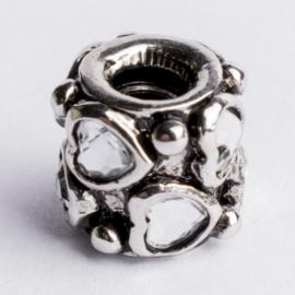 Be Charmed kraal zilver met een rhodium laag (nikkelvrij) c.a.11x 10.4mm groot gat: 4mm