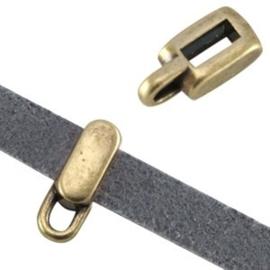 1x DQ metaal schuiver met oog rechthoek ( 5mm plat leer) Brons 8x5x4 mm Ø5.2 x 2.2 mm