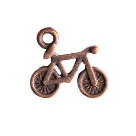 6 x bedel fiets rood koper kleur 16,5 x 15mm oogje: 1,5mm
