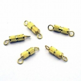 10 x Schroefsluiting verguld 20 x 7 mm gat: 2mm