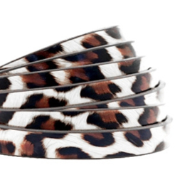 1 meter plat 5mm imi leer leopard print White-brown