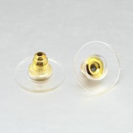 10 stuks vergulde achterkantjes stoppers voor oorbellen met plastic gedeelte 12mm Ø 7mm dik, gat: 1mm