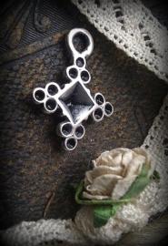 Per stuk metalen antiek zilveren hanger zonder steen 20 x 16 mm