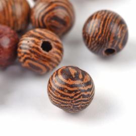 20 x houten kralen rond naturel 6 ~ 6,5mm coconut brown gat: 1,5mm