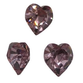 2x Precosia kristal in de vorm van een hart Licht Roze 10 mm