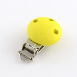 Gele speenclip voor het maken van een speenkoord.