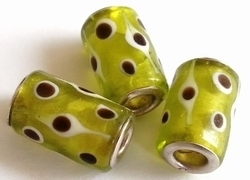Per stuk Glaskraal met metaal European-style Lime met stippen 17 mm