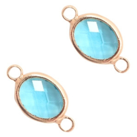 1 x Tussenstuk van crystal glas ovaal 10x9mm Turquoise blue crystal-rosegold