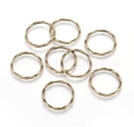 10 x gesloten tussenzetsel ring  geel koper kleur 22 x 1,5mm, diameter 18,5mm