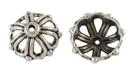 10 stuks schitterende tibetaans zilveren kralenkapjes 14 x 14 x 6mm gat 2mm