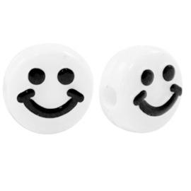 10 x Letterkralen van acryl smiley White-black ca. 10mm (Ø2,2mm)