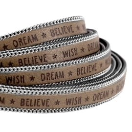 20 cm Quote imi leer 10mm met schakelketting zilver Wish dream believe Taupe grijs