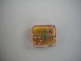 Erg mooie glaskraal, handgemaakt! Mat Oranje 15mm