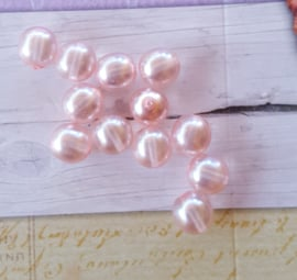 Nieuw! 15 x transparante DQ glasparel 10mm kleur: Soft Pink