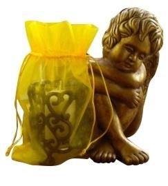 10 stuks zeer grote luxe organza kado zakjes met satijn koordje geel 28 x 20 x 4 cm, deze zijn bijna op = op!