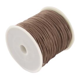 1 rol 90 meter gevlochten nylon koord, imitatie zijden draad 0,8mm camel