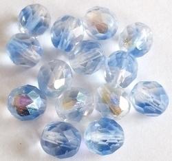 10 Stuks Glaskraal facet Aqua/transparant 6 mm