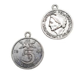 2 stuks antique zilverkleur bedels van 5 cent Nederland 24,7 x 21mm oogje 1,7mm