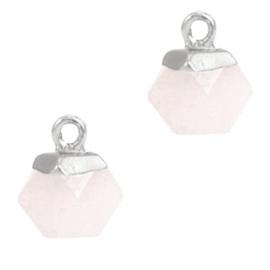 1 x Natuursteen hangers hexagon Icy pink-silver Berg Kristal