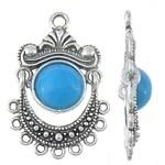 1 x  Prachtige Tibetaans zilveren bedel hanger met blauwe natuursteen