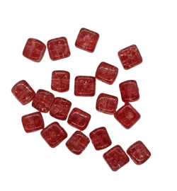 10 Stuks glaskraal crackle kubus transparant rood 8 x 9 mm