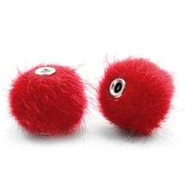 Pompom kralen faux fur 12mm Scarlet red