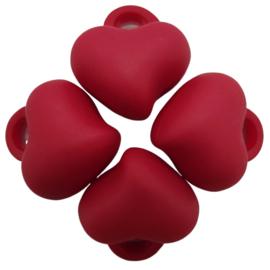 5 x Acryl bedel hart Rood 15 x 15 x 10mm; gat 3mm