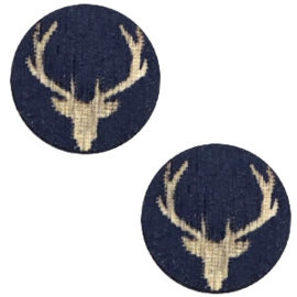 1 x cabochon reindeer 12mm Dark blue