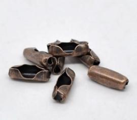 10 keer rood koper kleur connectors voor -ball chain kettingen  2mm-2,4mm